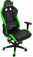 Геймерское раскладное кресло для геймеров Bonro 1018 эко кожа геймерский стул компьютерный игровой зеленый