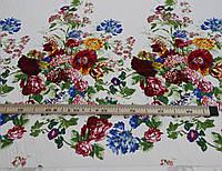 Коттон хлопок с эластаном цветочный принт купон на белом фоне Y 84, фото 1
