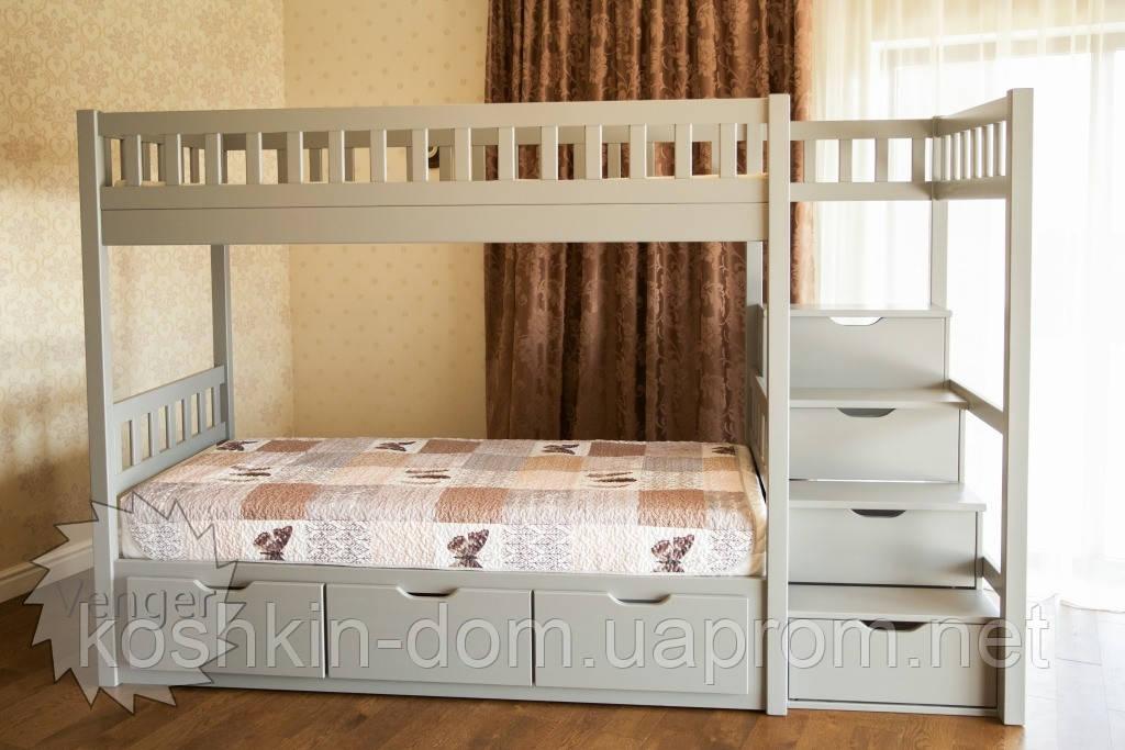 Двухъярусная кровать Владимир 90*200 с ящиками, из натурального дерева (детская, трансформер)