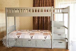 Двох'ярусне ліжко Володимир 90*200 з шухлядами, з натурального дерева (дитячий, трансформер)