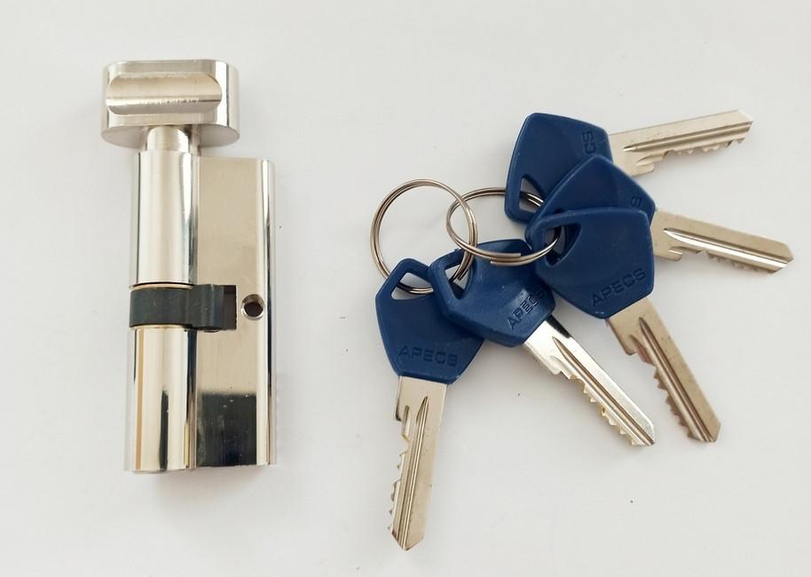 Цилиндр Apecs Standart EC-60-C-NI никель ключ/поворотник