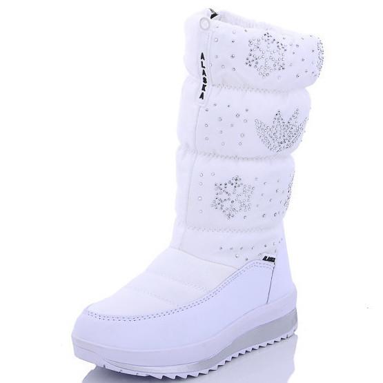 Детские подростковые дутики теплые зимние сапоги на зиму для девочки белые Alaska 31р 19см
