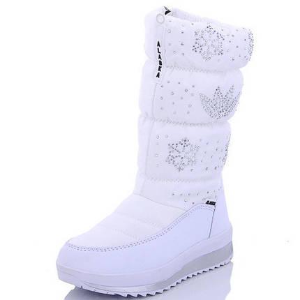 Детские подростковые дутики теплые зимние сапоги на зиму для девочки белые Alaska 31р 19см, фото 2