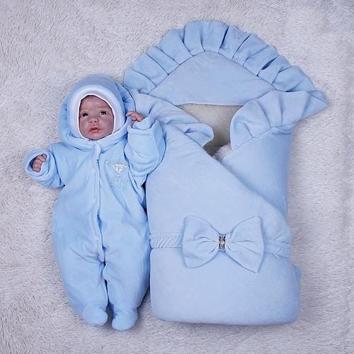 Зимний комплект на выписку для новорожденного мальчика набор Мария
