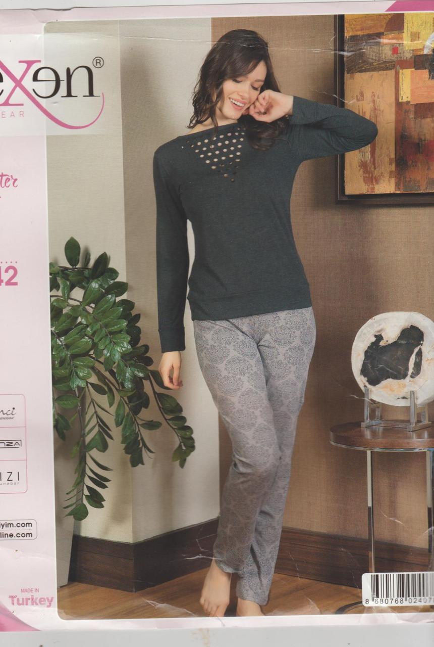 """Жіноча піжама-двійка(туніка та брючки) """"SEXEN""""Туреччина Art:-21142  ,L(44-46)"""