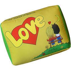 Подушка в форме жвачки желтая Love 34х25х12 см (LP_L004)