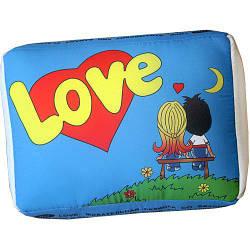 """Подушка у формі жуйки """"Love is"""" XXL (синя)"""