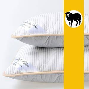 Подушка з вовни Меріноса GoodNight Store 40х60 см (колір Сірий / Білий у смужку) Протиалергічна