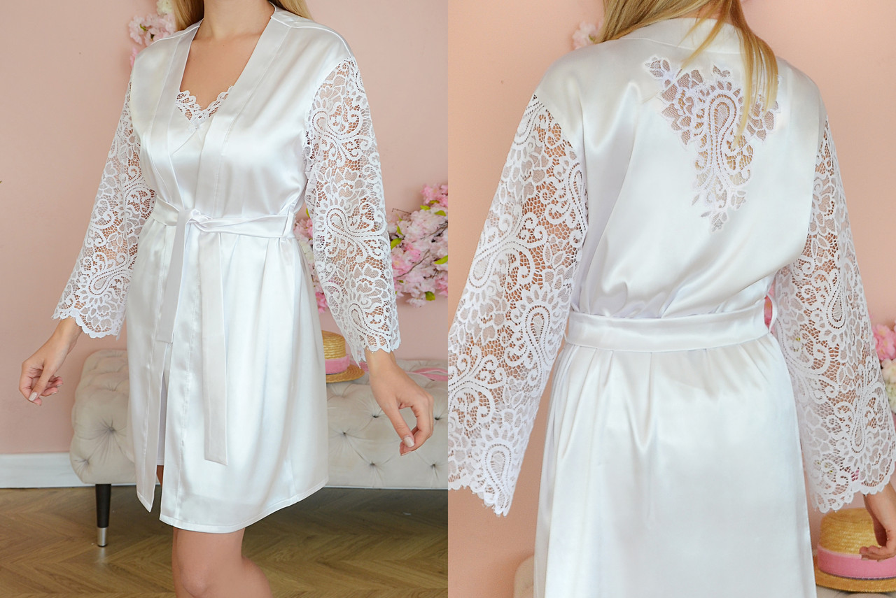 Белый комплект пеньюар и ночная рубашка с кружевом S/M
