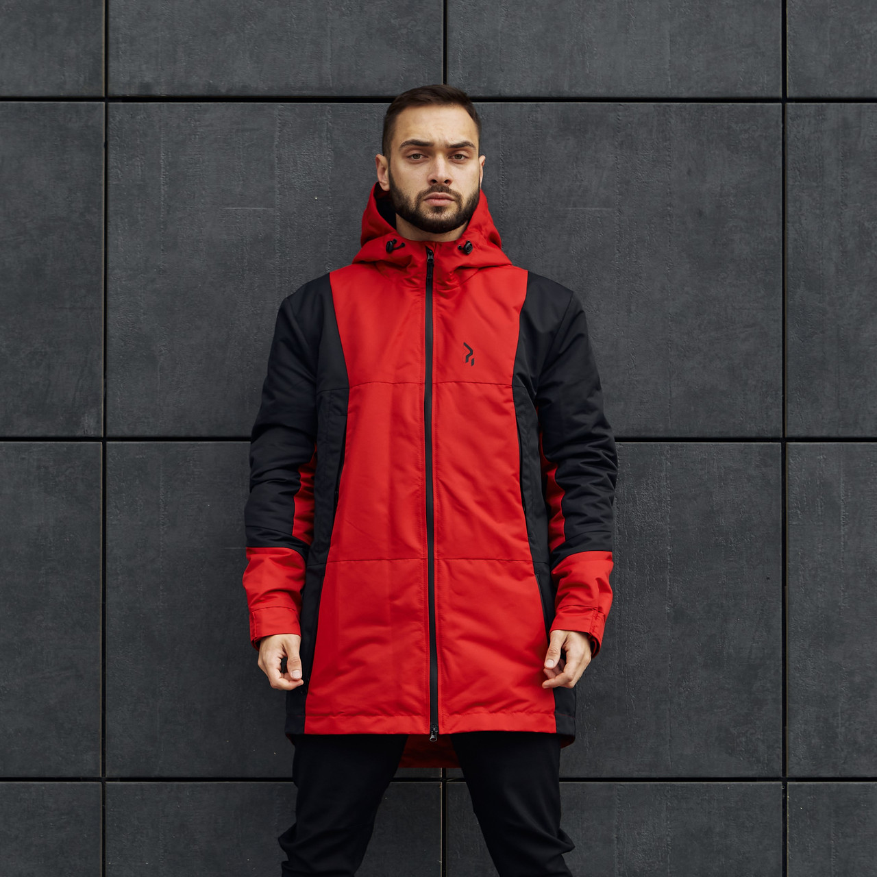 Куртка демісезонна чоловіча Пушка Огонь Horn чорно-червона