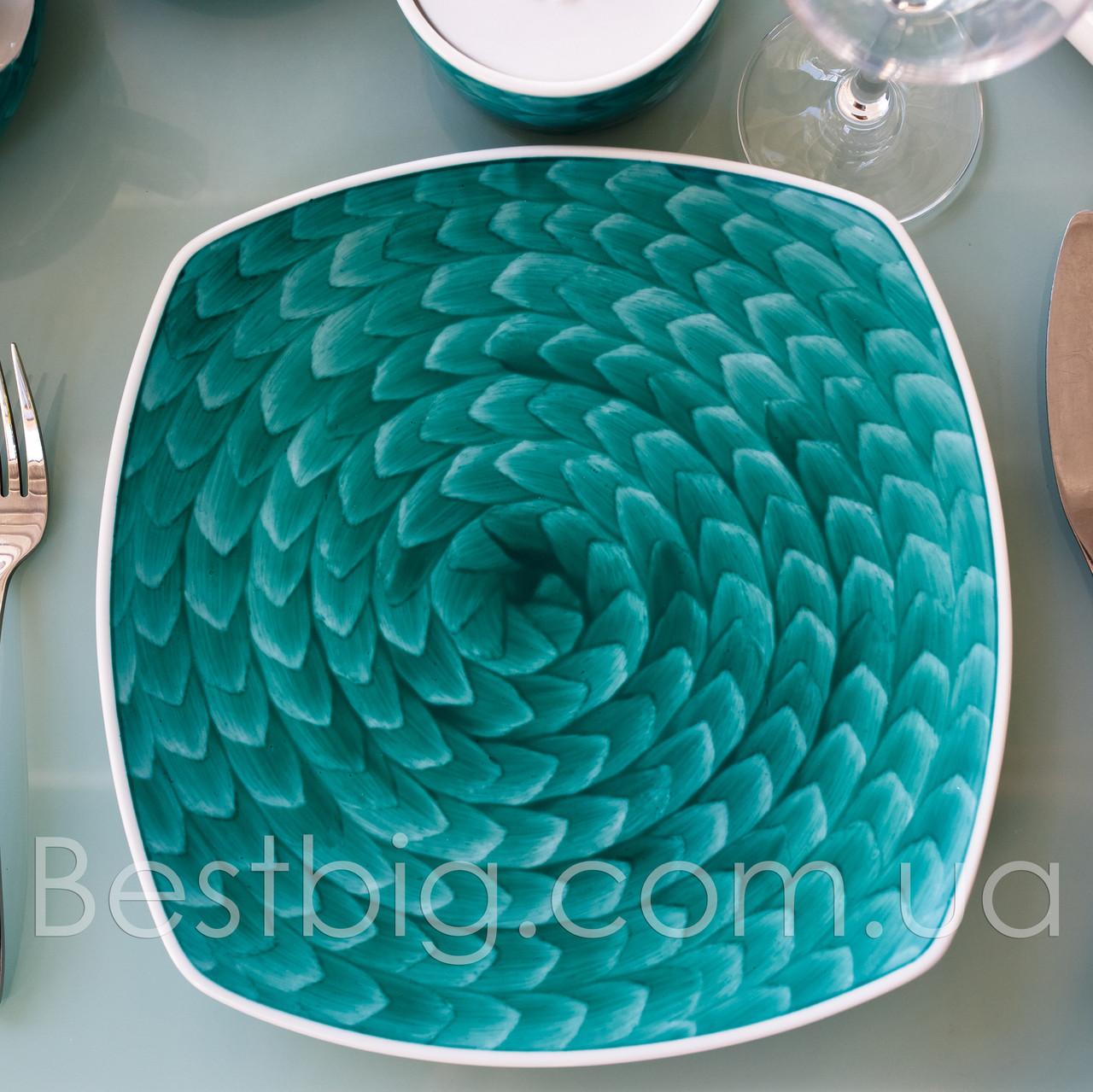 Тарелка мелкая квадратная - 25.5 см, Бирюзовая (ALT Porcelain) Classical