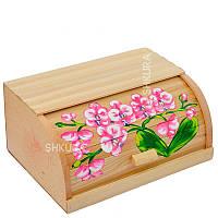 """Хлебница деревянная """"Цветы"""" 06"""