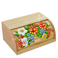 """Хлебница деревянная """"Цветы"""" 12"""
