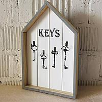 """Ключниця дерев'яна вішалка для ключів """"Keys"""" (30*20*3 див.)"""