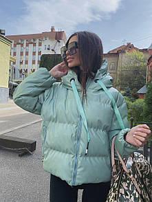 Женская объемная куртка-пуховик из эко-кожи мята (полная предоплата)