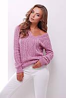 Женский свитер джемпер вязанный сиреневый. Размер универсальный 42-48. В'язаний светр, жіночий джемпер