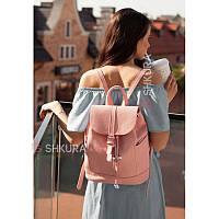 Кожаный женский рюкзак Олсен розовый, фото 1