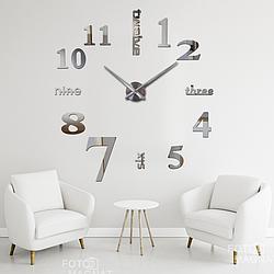 """Настенные часы 3D Большие """"Seven"""" - 3Д часы наклейка с зеркальным эффектом, необычные настенные часы стикеры"""