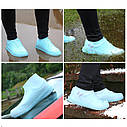 Непромокаемые бахилы-чехлы для обуви от дождя (размер М цвет Розовый), фото 3