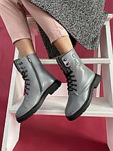 Женские ботинки кожаные зимние серые