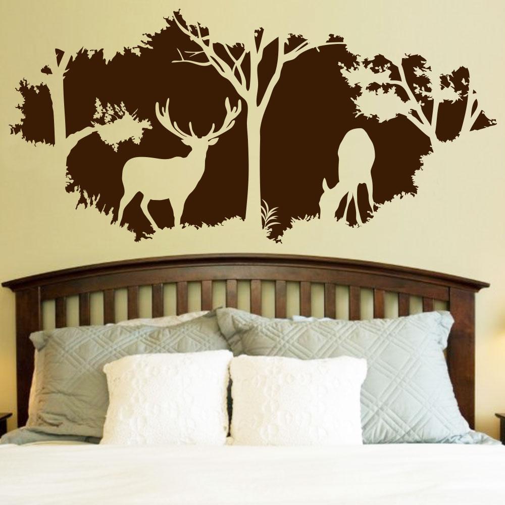 Виниловая интерьерная наклейка на стену В лесу (олени, ветвистые деревья, олененок, идиллия, уют)