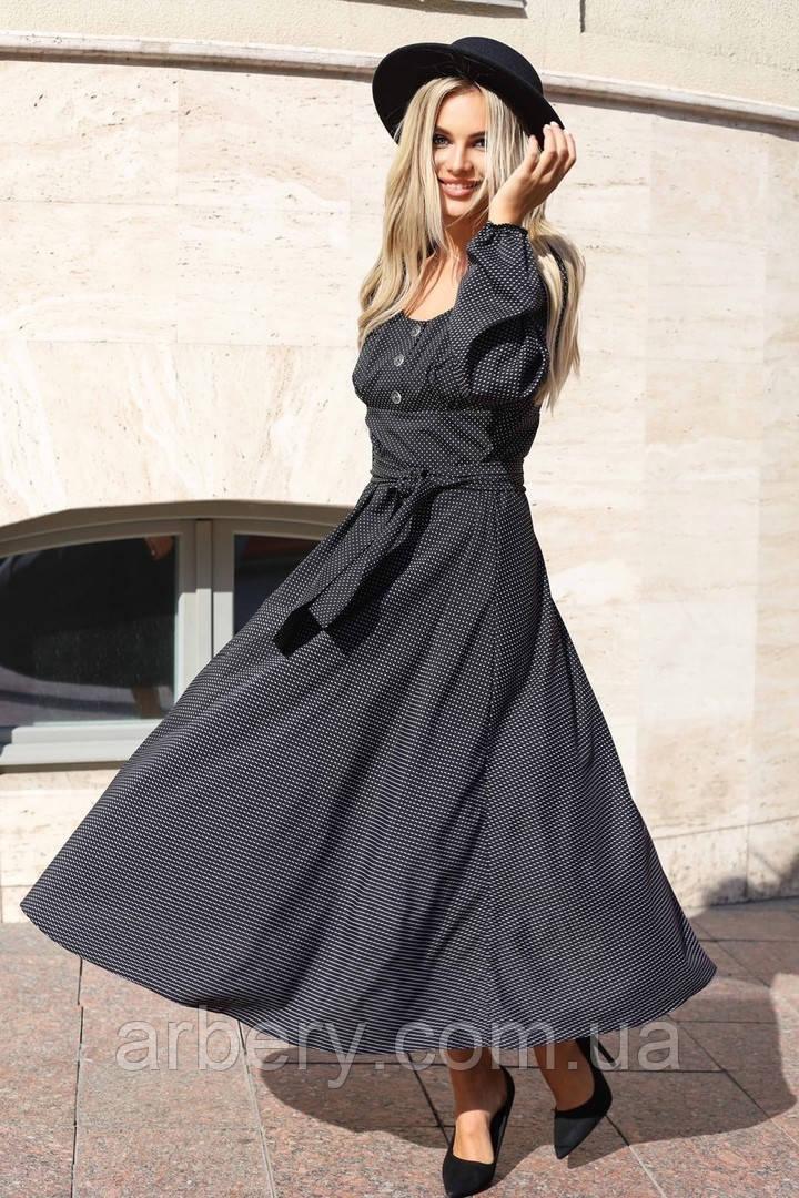 Женское миди платье в горошек с поясом