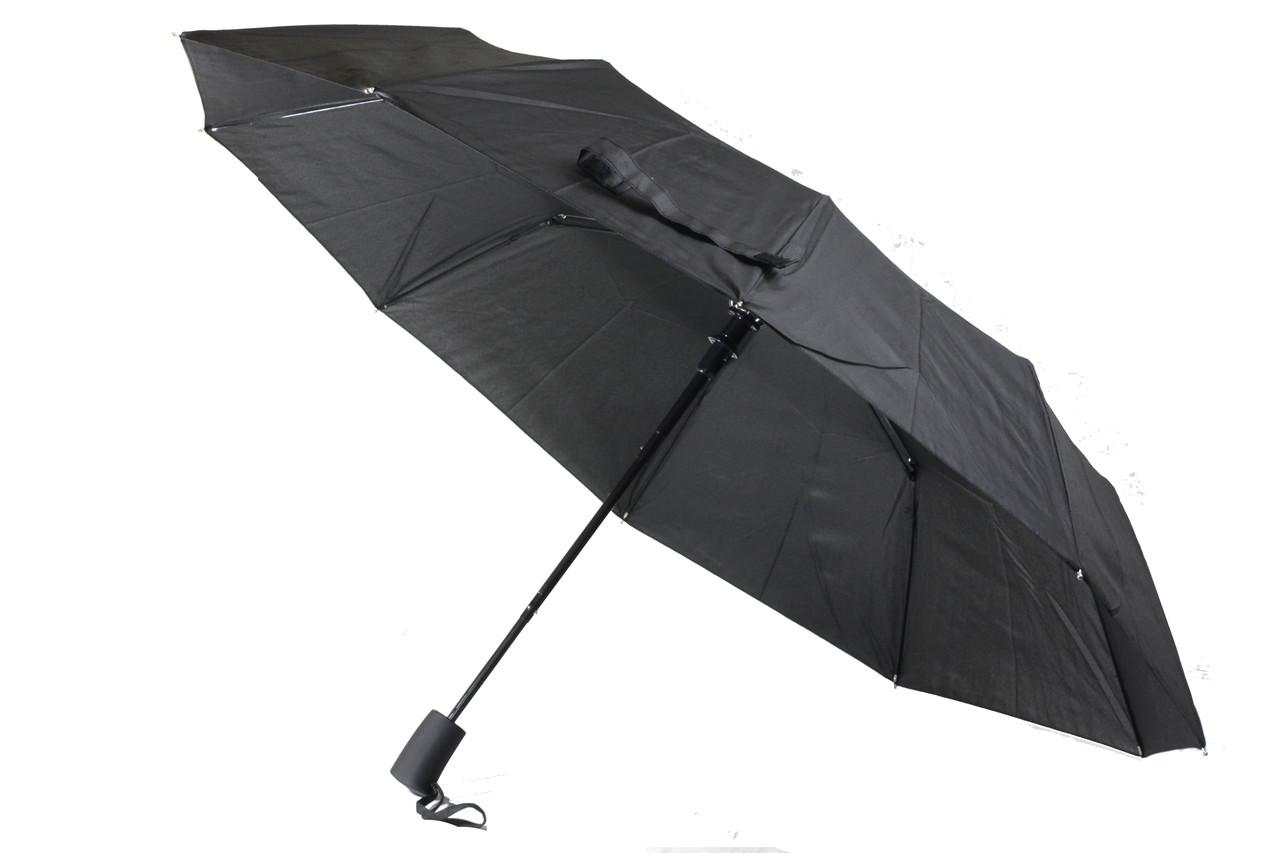 Мужской надежный складной зонт полуавтомат черного цвета. 10 спиц антиветер от Bellisimo.