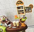 Детский супермаркет с тележкой 668-68 касса, сканер для продуктов, кофемашина, стеллажи со сладостями, фото 5