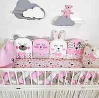Захист в ліжечко для дівчинки, бортики в кроватку