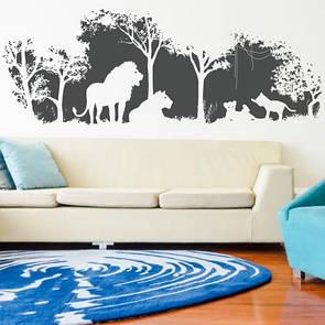 Виниловая интерьерная наклейка Львиный прайд (львы, саванна, деревья, африка, дикие животные)