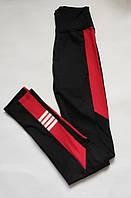 Женские спортивные лосины для фитнеса и спорта Бифлекс Черный + красный, фото 1