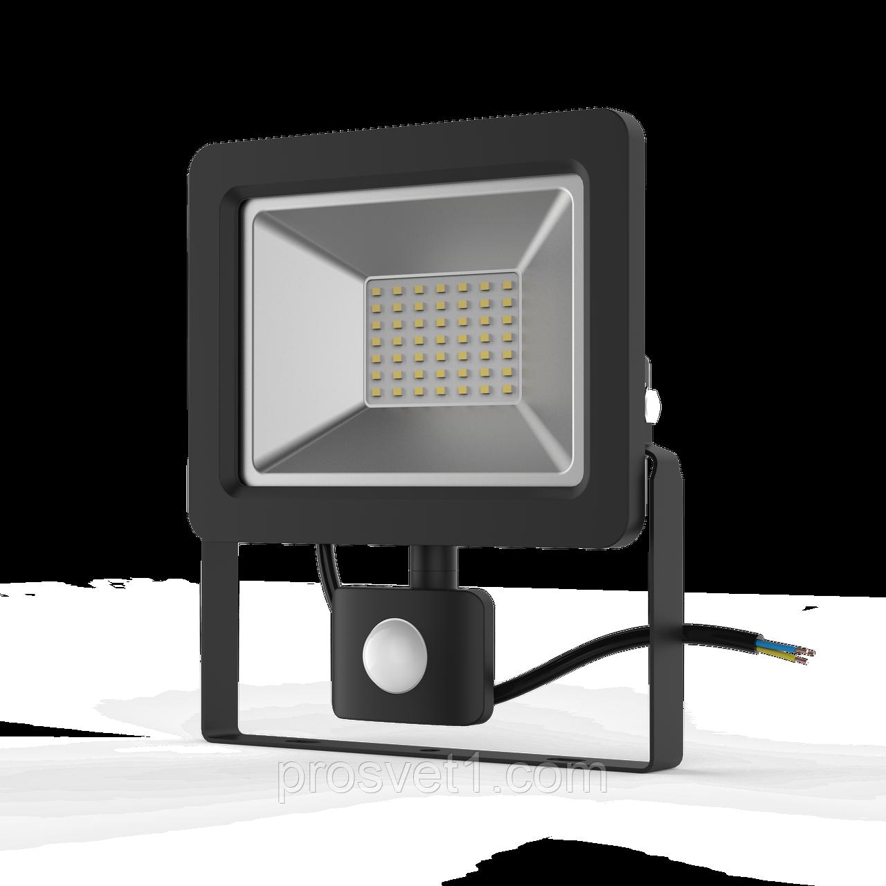 Прожектор LED Гаусса 50W 6500К IP65 з датчиком руху