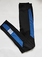 Женские спортивные лосины для фитнеса высокая посадка Бифлекс Черный + синий, фото 1