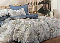 Сатиновое постельное белье семейное евро размер (14675) с двумя пододеяльниками хлопок 100%