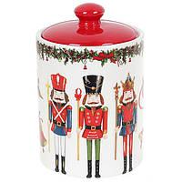 """Банка новогодняя для хранения  """"Щелкунчик"""", посуда для Рождества, 600 мл, цвет коричневый, набор 4 шт, фото 1"""