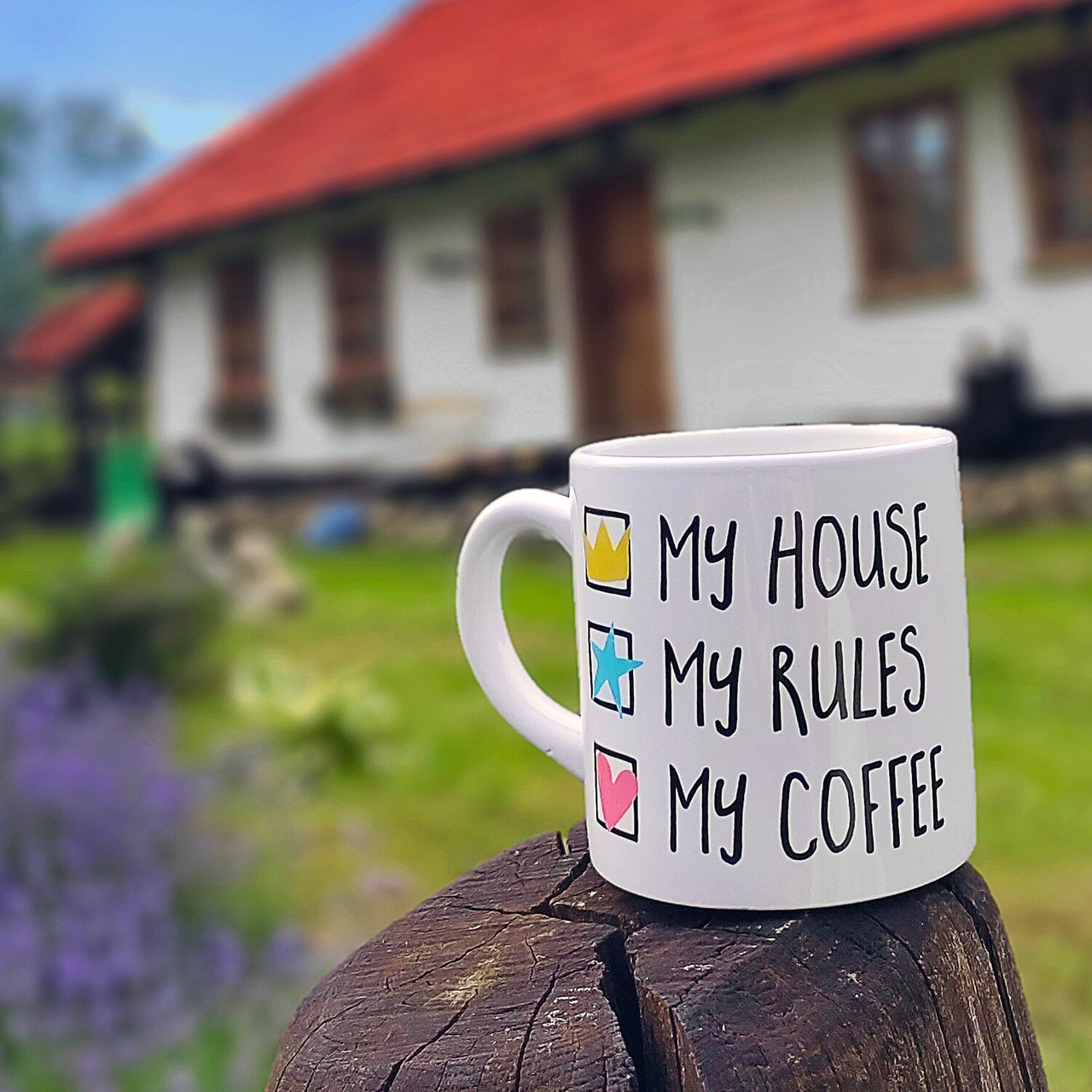 Кружка маленькая My house My rules My coffee (KRD_20M040)