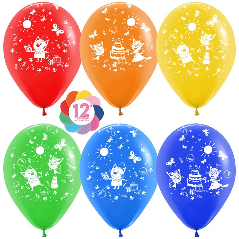 S (12''/30 см) Три кота (подарки), Ассорти, пастель, 5 ст, 50 шт.  Воздушные шары латексные праздничные