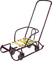Санки детские трансформер «Тимка 6 универсал» Фиолетовый лак (с выдвижными колесами)