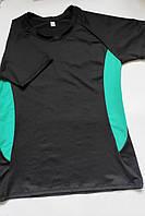 Женская спортивная футболка для фитнеса и спорта Черный + мята, фото 1