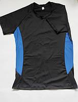 Женская спортивная футболка для фитнеса и спорта Черный + синий