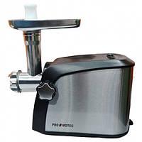 Электрическая мясорубка с соковыжималкой и насадками Promotec PM-1055 3200W Black/Silver