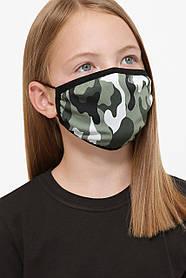 Захисна маска дитяча тканинна на резинці маска на підлітка з принтом