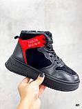 Тільки на 24,5 см! Жіночі кросівки ЗИМА / зимові чорні еко шкіра + замша, фото 4