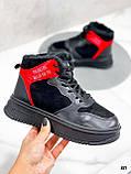 Тільки на 24,5 см! Жіночі кросівки ЗИМА / зимові чорні еко шкіра + замша, фото 5