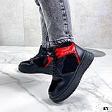 Тільки на 24,5 см! Жіночі кросівки ЗИМА / зимові чорні еко шкіра + замша, фото 9