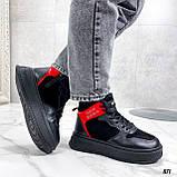 Тільки на 24,5 см! Жіночі кросівки ЗИМА / зимові чорні еко шкіра + замша, фото 7