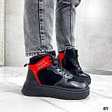 Тільки на 24,5 см! Жіночі кросівки ЗИМА / зимові чорні еко шкіра + замша, фото 3