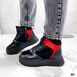 Тільки на 24,5 см! Жіночі кросівки ЗИМА / зимові чорні еко шкіра + замша, фото 8