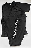 Женский спортивный костюм комплект двойка для фитнеса футболка + лосины Черный, фото 1