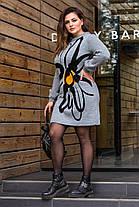Сіре в'язане жіноче плаття з малюнком, оверсайз 46-56, фото 2